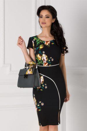 Rochie midi eleganta neagra cu imprimeu floral si dunga alba Carmen pentru office