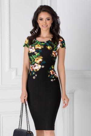 Rochie de zi conica neagra cu imprimeuri florale la bust Catalina pentru office