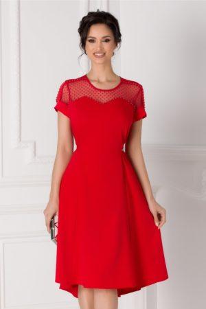 Rochie midi rosie in clos eleganta cu margelute la bust si cordon in talie Cory