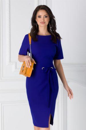 Rochie midi albastra eleganta pentru office accesorizata cu cordon in talie Darya