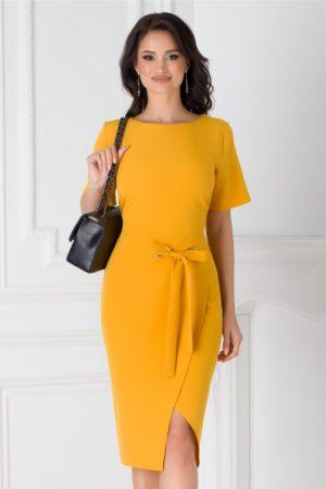Rochie midi galben mustar eleganta pentru office accesorizata cu cordon in talie Darya