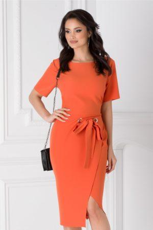 Rochie midi portocalie eleganta pentru office accesorizata cu cordon in talie Darya