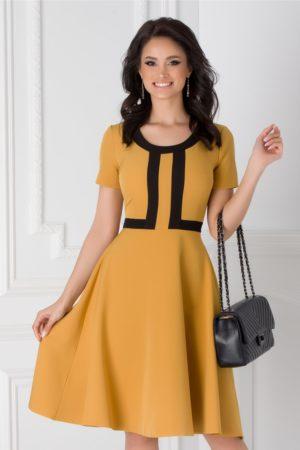 Rochie de ocazie galben mustar in clos cu maneci scurte accesorizata cu benzi negre si guler rotund Denisa