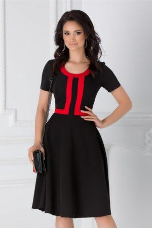 Rochie de ocazie neagra in clos cu maneci scurte accesorizata cu benzi rosii si guler rotund Denisa