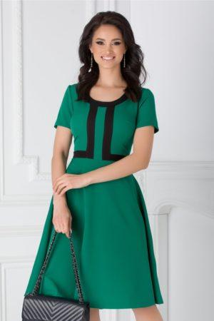 Rochie de ocazie verde in clos cu maneci scurte accesorizata cu benzi negre si guler rotund Denisa