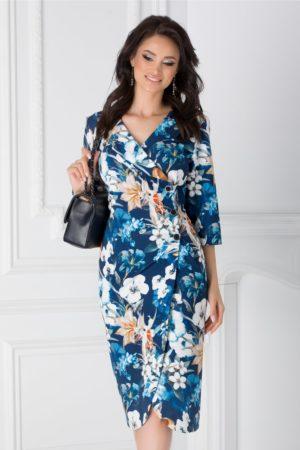Rochie midi bleumarin de primavara eleganta cu imprimeu floral si maneci trei sferturi Elena