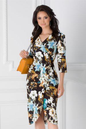Rochie midi neagra de primavara eleganta cu imprimeu floral si maneci trei sferturi Elena