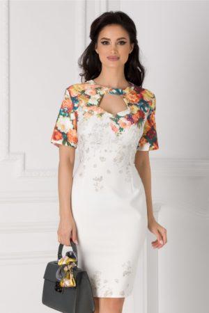 Rochie de ocazie alba midi eleganta cu imprimeu floral si decupaj la decolteu Eleonora