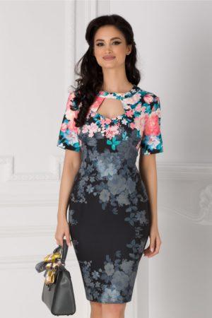 Rochie de ocazie neagra midi eleganta cu imprimeu floral si decupaj la decolteu Eleonora