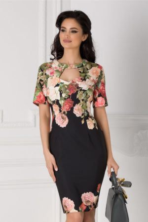Rochie de ocazie neagra midi eleganta cu trandafiri si decupaj la decolteu Eleonora