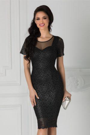 Rochie de seara neagra eleganta din dantela cu insertii din sclipici argintiu Eleonore