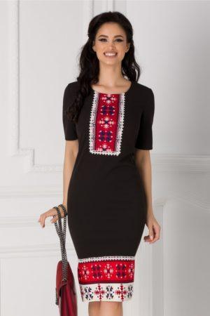 Rochie midi eleganta neagra de zi office cu motive traditionale Eliza