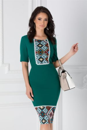 Rochie midi eleganta verde de zi office cu motive traditionale Eliza