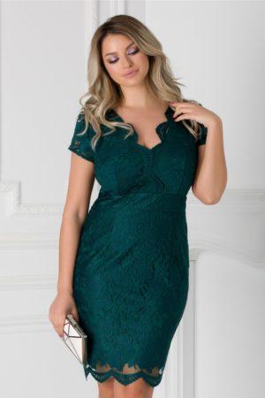 Rochie de seara verde inchis din dantela cu maneci scurte si decolteu in V adanc Eliza