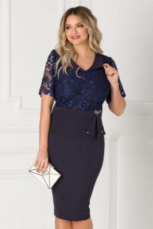 Rochie midi eleganta bleumarin cu dantela la bust Ermin pentru femei plinute