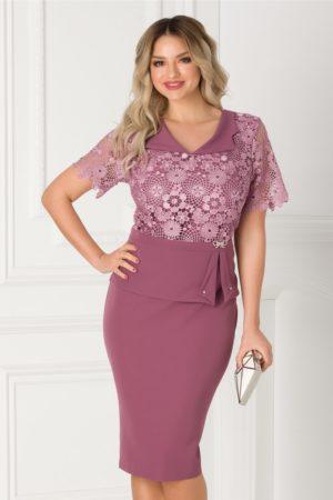 Rochie midi eleganta lila cu dantela la bust Ermin pentru femei plinute