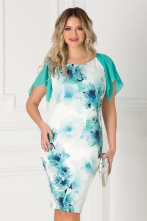 Rochie de ocazie eleganta cu imprimeu floral si voal turcoaz pe umeri Ginette pentru tinute pline de stil