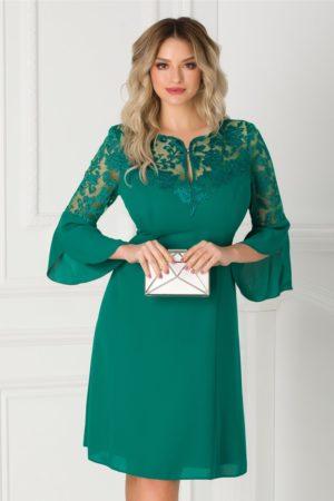 Rochie eleganta de ocazie din voal verde cu broderie la decolteu accesorizata cu maneci trei sferturi Ginette