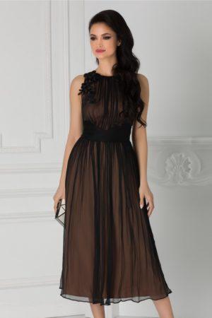 Rochie de nunta eleganta din matase neagra cu broderie la umar si croiala lejera in clos Ginette
