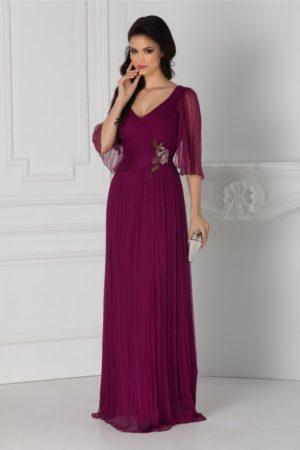 Rochie de seara magenta lunga eleganta din matase naturala cu decolteu in V si maneci trei sferturi Ginette