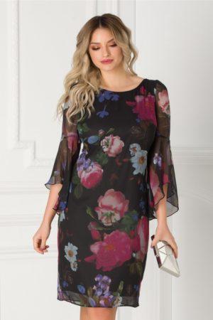 Rochie neagra eleganta cu imprimeu floral maxi si maneci tip clopot pentru femei plinute Ginette