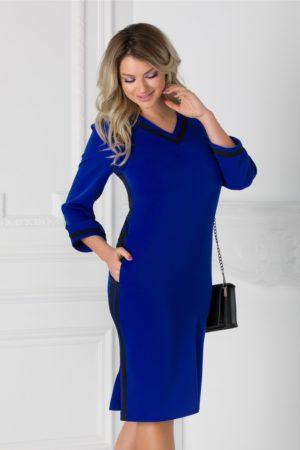 Rochie de zi albastra cu dungi albe Holly cu decolteu in V pentru femei plinute