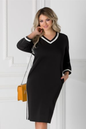 Rochie de zi neagra cu dungi albe Holly cu decolteu in V pentru femei plinute