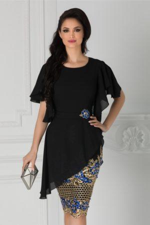 Rochie de seara midi neagra cu broderie florala albastra la baza Iasmina eleganta cu croiala cambrata