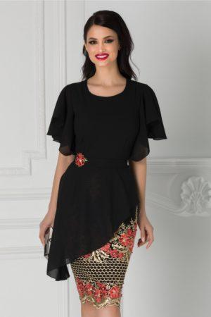 Rochie de seara midi neagra cu broderie florala rosie la baza Iasmina eleganta cu croiala cambrata