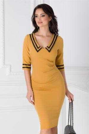 Rochie office eleganta galben mustar cu benzi negre si fronseuri in talie Ioana  pentru tinute cochete la birou