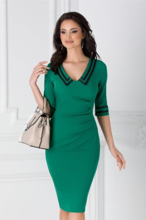Rochie office eleganta verde cu benzi negre si fronseuri in talie Ioana  pentru tinute cochete la birou