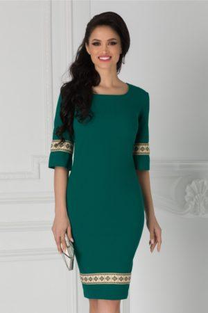 Rochie midi verde eleganta cu croiala conica si broderie la maneci si la baza Ioana pentru office