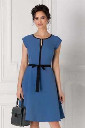 Rochie office bleu cu cordon in talie Isabel cu maneci scurte si croiala in clos