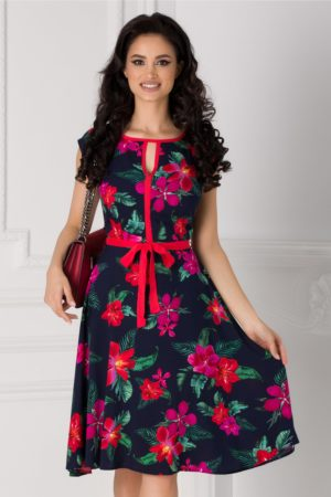 Rochie bleumarin cu imprimeu floral si cordon in talie Isabel cu maneci scurte si croiala in clos