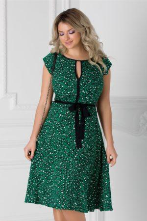 Rochie verde cu animal print si cordon in talie Isabel cu maneci scurte si croiala in clos