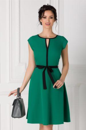 Rochie office verde cu cordon in talie Isabel cu maneci scurte si croiala in clos