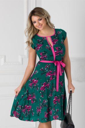 Rochie verde cu floricele roz si cordon in talie Isabel cu maneci scurte si croiala in clos
