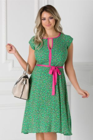 Rochie verde cu floricele si cordon in talie Isabel cu maneci scurte si croiala in clos