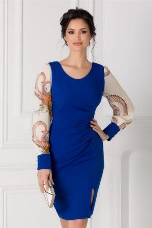 Rochie de ocazie albastra midi mulata pe corp cu maneci lungi bufante din voal imprimat Jessica