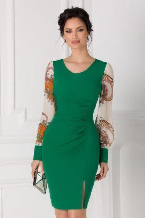 Rochie de ocazie verde midi mulata pe corp cu maneci lungi bufante din voal imprimat Jessica