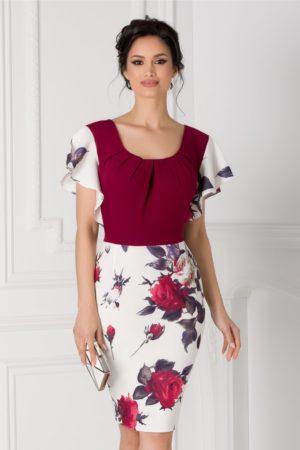 Rochie de nunta cambrata bordo eleganta midi cu volanase discrete si imprimeu floral Kasia