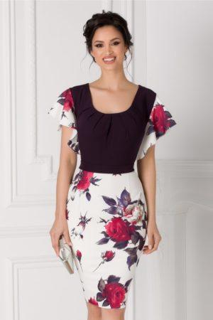 Rochie de nunta cambrata mov eleganta midi cu volanase discrete si imprimeu floral Kasia