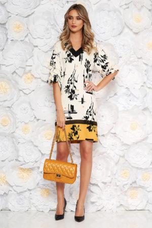 Rochie eleganta de zi alba cu accente mustarii si imprimeuri florale LaDonna prevazuta cu maneci lejere cu pliuri si decolteu in V