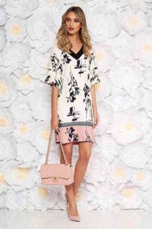 Rochie eleganta de zi alba cu accente roz si imprimeuri florale LaDonna prevazuta cu maneci lejere cu pliuri si decolteu in V