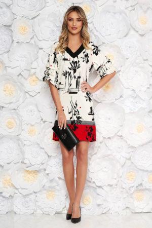 Rochie eleganta de zi alba cu accente rosii si imprimeuri florale LaDonna prevazuta cu maneci lejere cu pliuri si decolteu in V