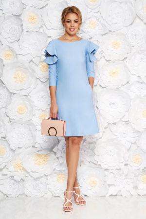 Rochie scurta eleganta albastru deschis cu croi in A si volanase la maneca LaDonna pentru ocazii office sau de zi