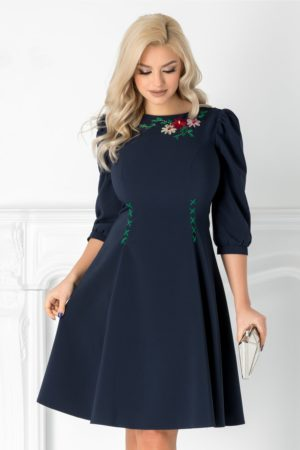 Rochie de zi office bleumarin  eleganta cu broderie florala handmade LaDonna