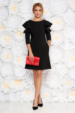 Rochie scurta eleganta neagra cu croi in A si volanase la maneca LaDonna pentru ocazii office sau de zi