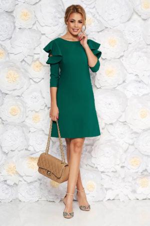 Rochie Scurta Eleganta Verde Deschis Cu Croi In A Si Volanase La