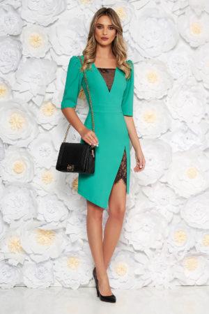 Rochie mulata verde eleganta cu decolteu in v prevazuta cu insertii de dantela transparenta LaDonna